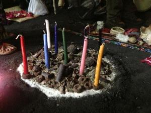 Reiki healing colored candles fire setup Maya