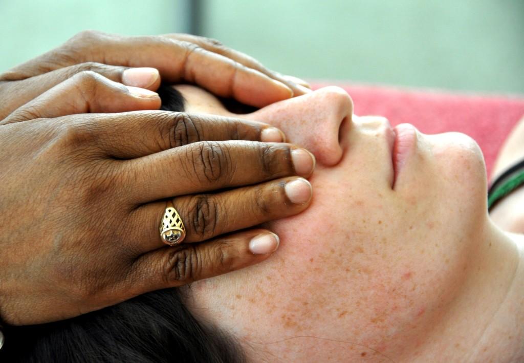 Reiki healing placement face