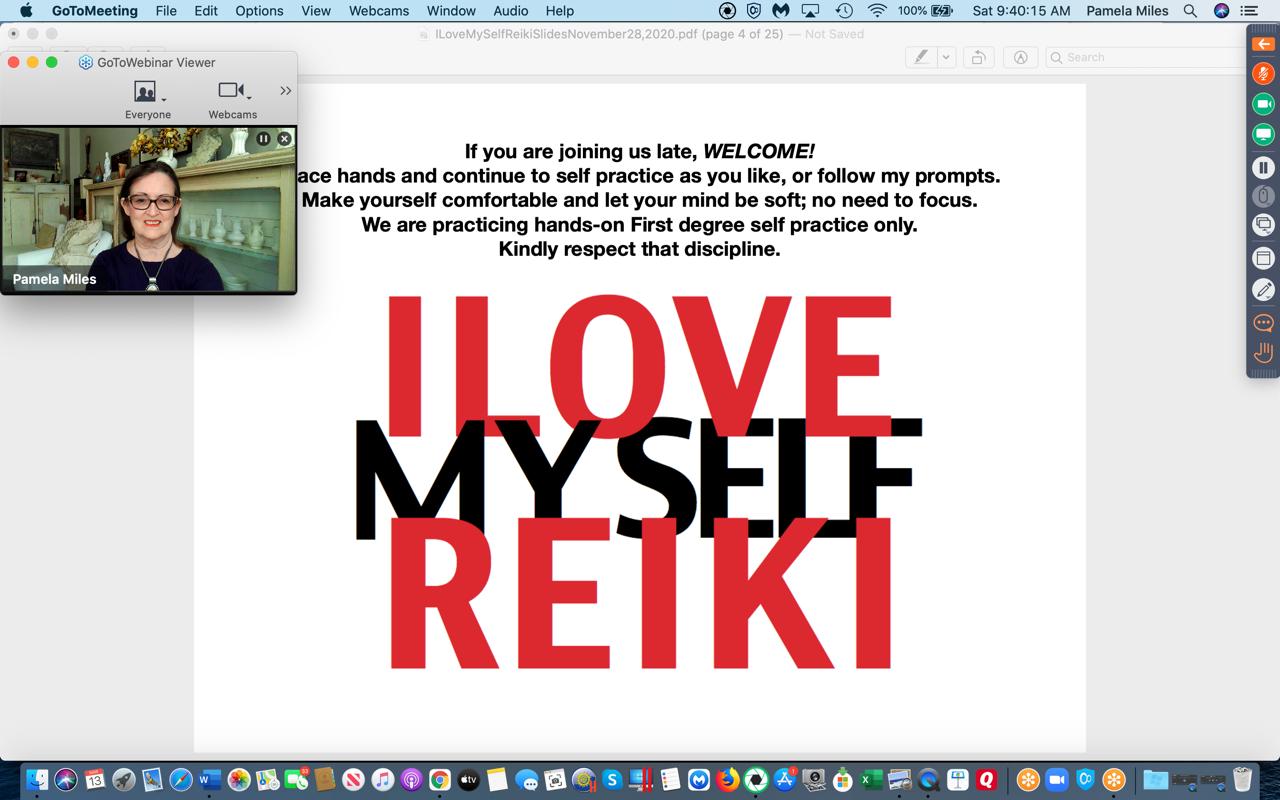 I Love Myself Reiki, Online Global Self Practice with Pamela Miles Screenshot