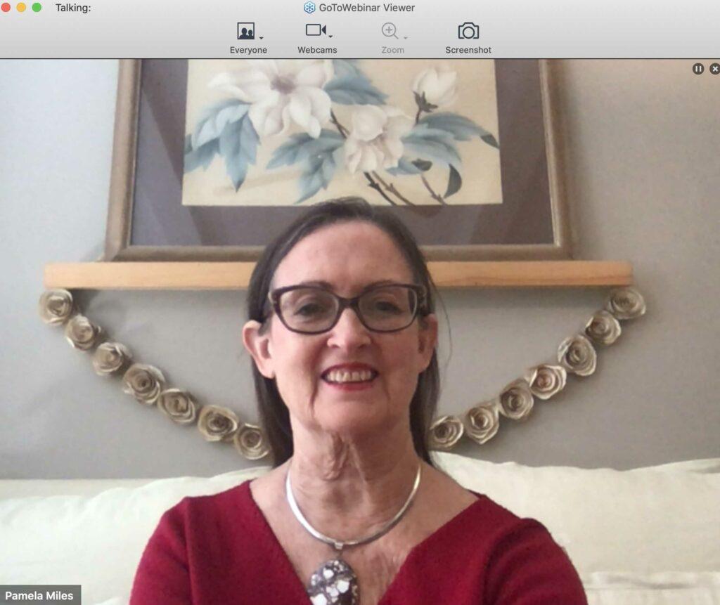 Pamela Miles teaching virtually